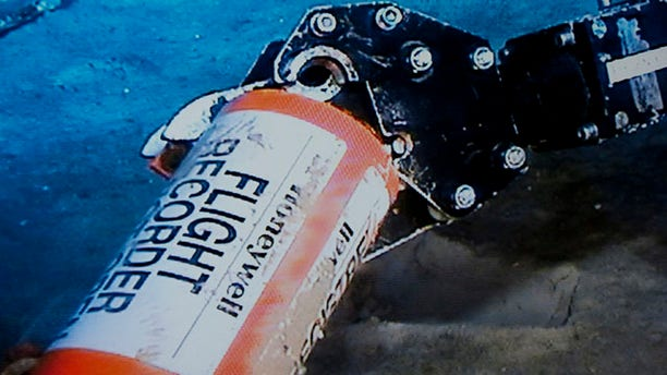 May 1: This photo provided by France's air accident investigation agency, the BEA, shows the flight data recorder from the 2009 Air France flight that went down in the mid-Atlantic.