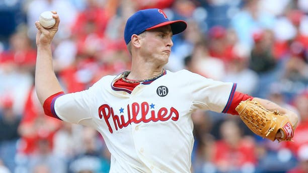 May 24, 2014; Philadelphia, PA, USA; Philadelphia Phillies starting pitcher David Buchanan (55) throws a pitch during the first inning of a game against the Los Angeles Dodgers at Citizens Bank Park. Mandatory Credit: Bill Streicher-USA TODAY Sports