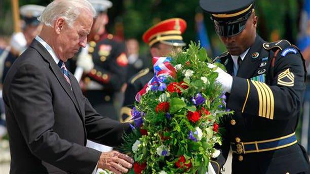 May 31: Vice President Joe Biden lays a wreath at the Tomb of the Unknowns at Arlington National Cemetery in Arlington, Va. (AP)