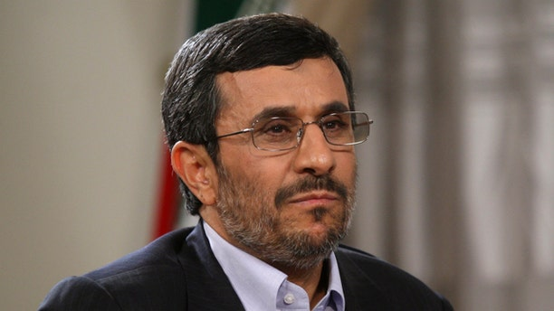 May 15: This image provided by the Presidency Office shows Iranian President Mahmoud Ahmadinejad attending an interview with state-run TV at the presidency in Tehran, Iran.