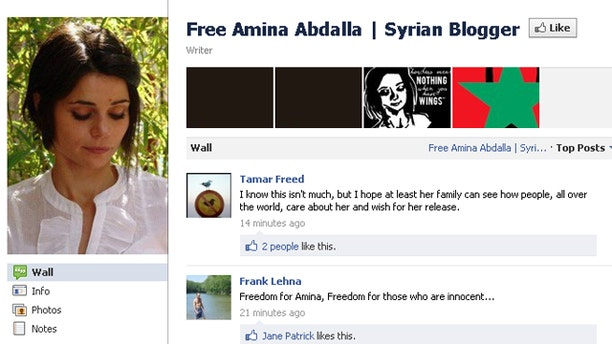 Facebook page calling for the release of kidnapped Syrian blogger Amina Arraf.