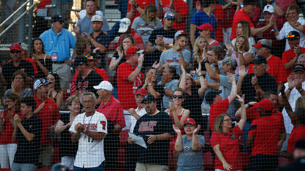 Texas Tech fans celebrate after Michael Davis hit a home run during an NCAA college baseball tournament super regional game against East Carolina, Friday, June 10, 2016, in Lubbock, Texas. (Brad Tollefson/Lubbock Avalanche-Journal via AP) ALL LOCAL TELEVISION OUT; MANDATORY CREDIT