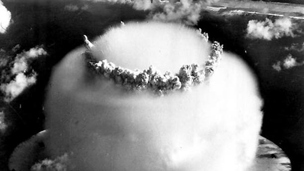 July 25, 1946: Nuclear test 'Baker' detonates underwater at Bikini Atoll in the western Pacific, creating a huge water-vapor shockwave cloud.