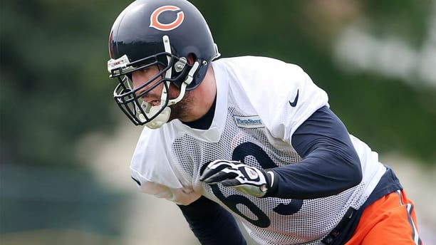 Jul 25, 2014; Chicago, IL, USA; Chicago Bears defensive end Jared Allen goes through drills during training camp at Olivet Nazarene University. Mandatory Credit: Jerry Lai-USA TODAY Sports