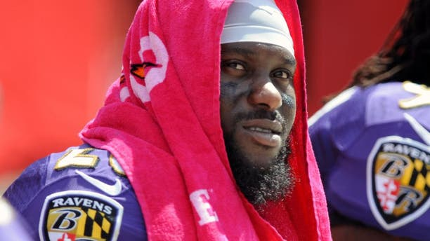 TAMPA, FL - OCTOBER 12: Strong safety Matt Elam #26 of the Baltimore Ravens sits on the sidelines against the Tampa Bay Buccaneers at Raymond James Stadium on October 12, 2014 in Tampa, Florida. (Photo by Cliff McBride/Getty Images)