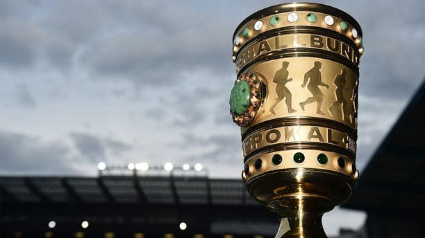 BIELEFELD, GERMANY - APRIL 29: The DFB Cup trophy seen prior to the DFB Cup Semi Final match between Arminia Bielefeld and VfL Wolfsburg at Schueco Arena on April 29, 2015 in Bielefeld, Germany. (Photo by Stuart Franklin/Bongarts/Getty Images)