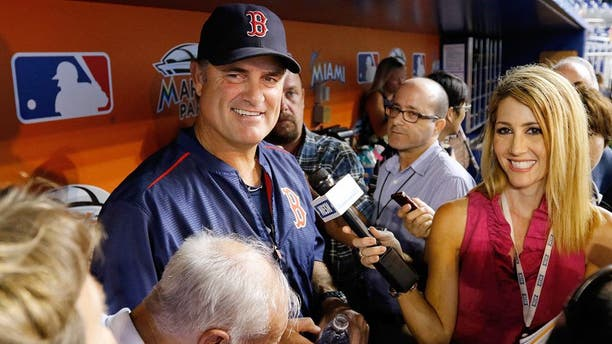 MIAMI, FL - AUGUST 11: Manager John Farrell #53 of the Boston Red Sox speaks with reporters before the Red Sox met the Miami Marlins at Marlins Park on August 11, 2015 in Miami, Florida. (Photo by Joe Skipper/Getty Images)