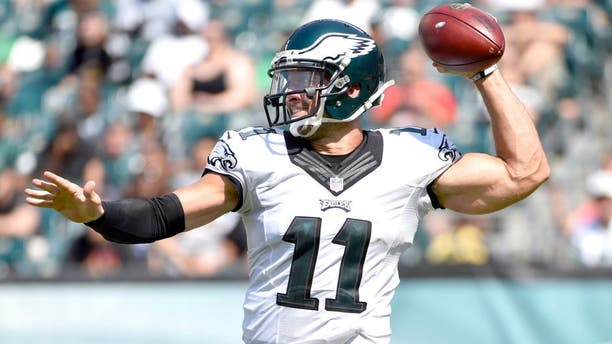 Aug 16, 2015; Philadelphia, PA, USA; Philadelphia Eagles quarterback Tim Tebow (11) throws the ball during the second half of a preseason NFL football game against the Indianapolis Colts at Lincoln Financial Field. Mandatory Credit: Derik Hamilton-USA TODAY Sports