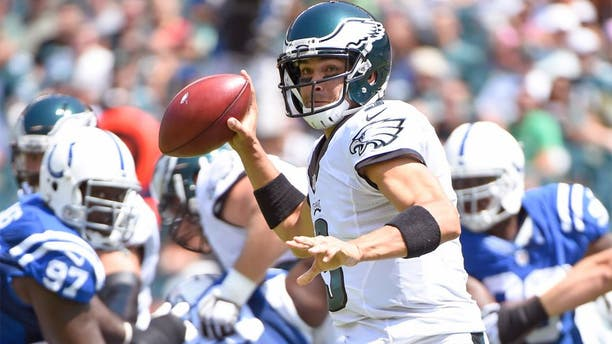 Aug 16, 2015; Philadelphia, PA, USA; Philadelphia Eagles quarterback Mark Sanchez (3) throws a pass against the Indianapolis Colts during the first quarter in a preseason NFL football game at Lincoln Financial Field. Mandatory Credit: Eric Hartline-USA TODAY Sports