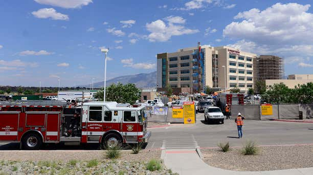 Aug. 18, 2015: Emergency crews respond to a scaffolding accident at the Presbyterian Rust Medical Center in Rio Rancho, N.M.