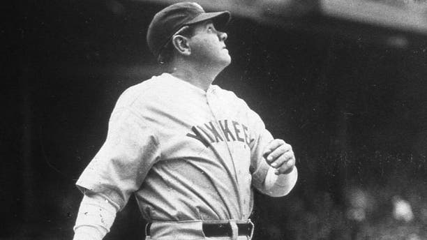 NEW YORK - 1931. Babe Ruth hits one out during batting practice at Yankee Stadium before a game in 1931.