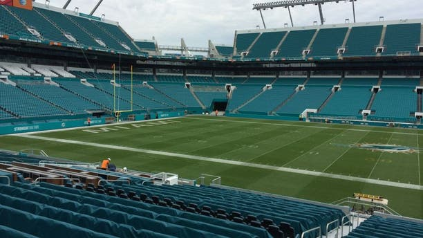 A renovated Sun Life Stadium is viewed Thursday, Sept. 27, 2015, in Miami Gardens, Fla. The Miami Dolphins are to play the Atlanta Falcons on Saturday at the stadium where every seat has been replaced and suites and bathrooms have been redesigned. (AP Photo/Steve Wine)