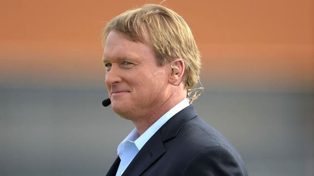 Jan 23, 2015; Scottsdale, AZ, USA; ESPN broadcaster and Tampa Bay Buccaneers and Oakland Raiders former coach Jon Gruden at Team Irvin practice at Scottsdale Community College in advance of the 2015 Pro Bowl. Mandatory Credit: Kirby Lee-USA TODAY Sports
