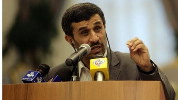 Sept. 5: Iranian President Mahmoud Ahmadinejad speaks during a joint press conference with Qatar's emir, Sheikh Hamad bin Khalifa al-Thani, unseen, at the royal palace in Doha, declaring that any attack on the Islamic republic will result in the destruction of Israel (AP).