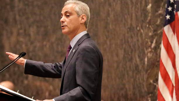 FILE - In this Sept. 22, 2015, file photo, Chicago Mayor Rahm Emanuel outlines his 2016 proposed budget before the City Council in Chicago.