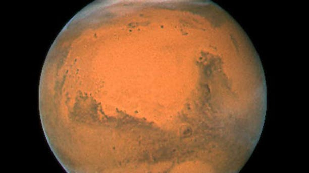 Mars in December 2007, during its most recent closest approach to Earth.
