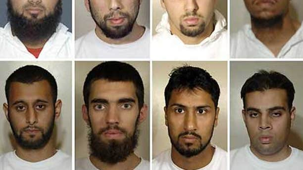 Eight suspects on trial for plotting to use 'home made bombs' disguised as soft drinks to blow up transatlantic aircraft in mid-flight.