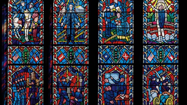 Stained glass windows at the cathedral memorialize Confederate Generals Robert E. Lee and Thomas Stonewall Jackson.