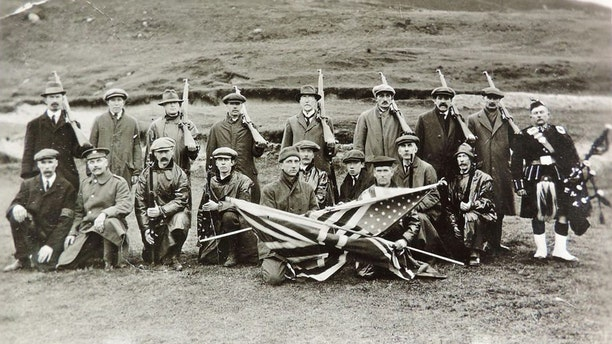 A traditional funeral was held on Islay for the men killed when the Tuscania was hit by a German torpedo 7 miles off the Scottish Island. The funeral procession was led by the British Union flag and the handmade American Stars and Stripes. See Centre Press story CPFLAG; A flag hand stitched on a Scottish island for a mass burial of American soldiers during World War I is making the 3,500-mile journey back to the island 100 years on. The stars and stripes were sewn in less than a day after the troopship SS Tuscania was struck by a German U-Boat around seven miles from Islay.