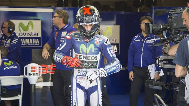 MOTEGI, JAPAN - OCTOBER 09: Jorge Lorenzo of Spain and Movistar Yamaha MotoGP prepares to start from box during the MotoGP Of Japan - Free Practice at Twin Ring Motegi on October 9, 2015 in Motegi, Japan. (Photo by Mirco Lazzari gp/Getty Images)