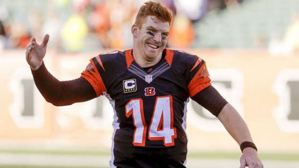 Oct 11, 2015; Cincinnati, OH, USA; Cincinnati Bengals quarterback Andy Dalton (14) celebrates after his team defeated the Seattle Seahawks at Paul Brown Stadium. Cincinnati defeated Seattle 27-24.