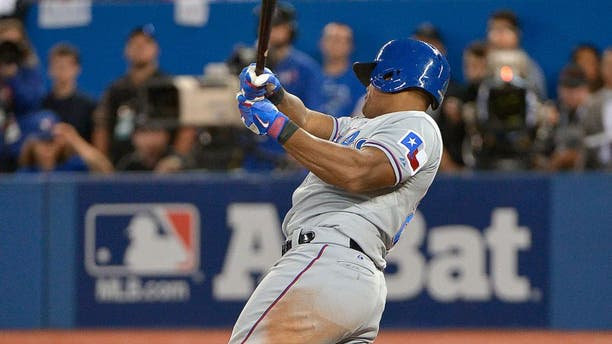 The Texas Rangers' Adrian Beltre (29) hits an RBI single during the third inning against the Toronto Blue Jays during Game 1 of the ALDS at Rogers Centre in Toronto on Thursday, Oct. 8, 2015. The Rangers won, 5-3. (Max Faulkner/Fort Worth Star-Telegram/TNS via Getty Images)