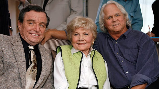 """Sept. 27, 2007: Jerry Mathers, Barbara Billingsley, and Tony Dow, cast of """"Leave It To Beaver"""", pose for a photo as they are reunited in Santa Monica, Calif."""