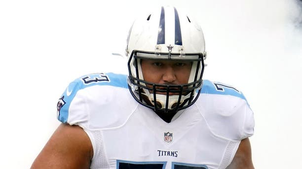 NASHVILLE, TN - SEPTEMBER 27: Jeremiah Poutasi #73 of the Tennessee Titans runs onto the field prior to a game against the Indianapolis Colts at Nissan Stadium on September 27, 2015 in Nashville, Tennessee. (Photo by Frederick Breedon/Getty Images)