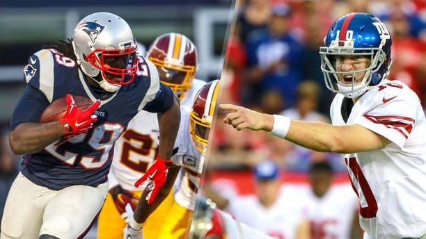 Nov 8, 2015; Foxborough, MA, USA; New England Patriots running back LeGarrette Blount (29) runs the ball against the Washington Redskins in the second half at Gillette Stadium. The Patriots defeated the Redskins 27-10. Mandatory Credit: David Butler II-USA TODAY Sports, Nov 8, 2015; Tampa, FL, USA; New York Giants quarterback Eli Manning (10) points against the Tampa Bay Buccaneers during the first half at Raymond James Stadium. Mandatory Credit: Kim Klement-USA TODAY Sports