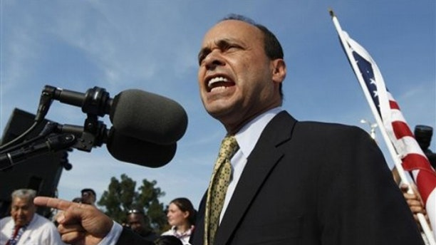 Rep. Luis Gutierrez speaks at a rally for immigration reform in Washington Oct. 13, 2009. (AP Photo)