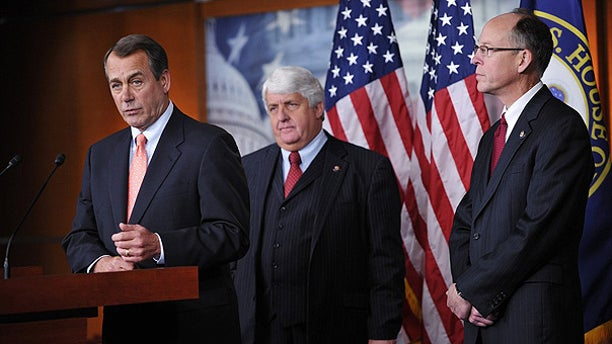 Dec. 2: House Minority Leader John Boehner at a press conference with Rep. Rob Bishop (center) and Rep. Greg Walden (Right) in Washington.