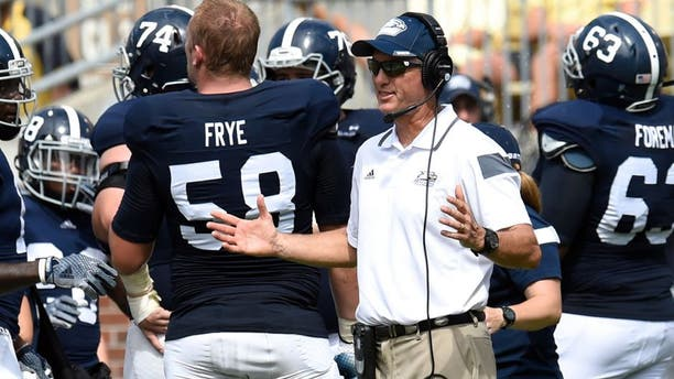 Sep 13, 2014; Atlanta, GA, USA; Georgia Southern Eagles head coach Willie Fritz reacts to a turnover call against the Georgia Southern Eagles during the second half at Bobby Dodd Stadium. Georgia Tech defeated Georgia Southern 42-38. Mandatory Credit: Dale Zanine-USA TODAY Sports
