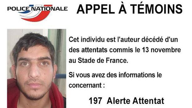 A photo circulated by French police of one of the suicide attackers who targeted the French national stadium.