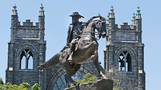 This Wednesday, June 28, 2017 shows the statue of Confederate general J.E.B. Stewart on Monument Avenue in Richmond, Va. Richmond Mayor Levar Stoney recently announced he thinks the monuments should stay put, though he appointed a commission to study adding historical context, likely with new signs or new statues. (AP Photo/Steve Helber)