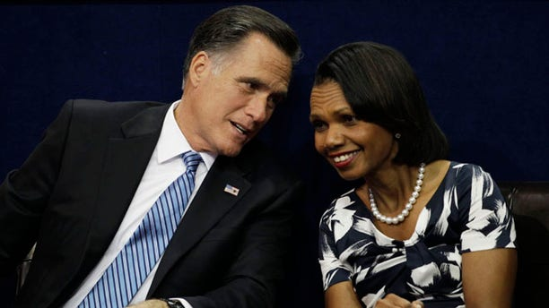 Aug. 28, 2012: Mitt Romney speaks to former Secretary of State Condoleezza Rice during the Republican National Convention in Tampa, Fla.