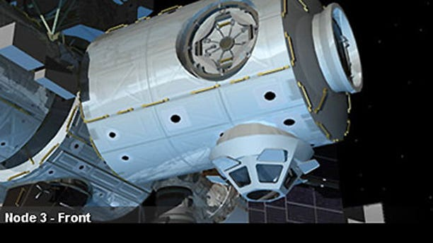 An artist's conception of the installed Node 3 module on the International Space Station.