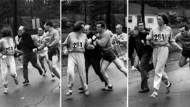 A series of photos shows the moment the official tried to throw Switzer out of the race.