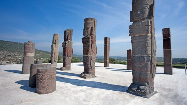 Toltec warriors. Ancient ruins of Tula de Allende, home of the Atlantean figures and  the characteristic chacmools. In the state of Hidalgo, Mexico.; Shutterstock ID 110647133; Project/Title: Mexico's Most Amazing Ruins slideshow; Downloader: Melanie Marin