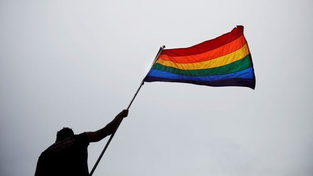 A man holds a flag as he takes part in an annual Gay Pride Parade in Toronto