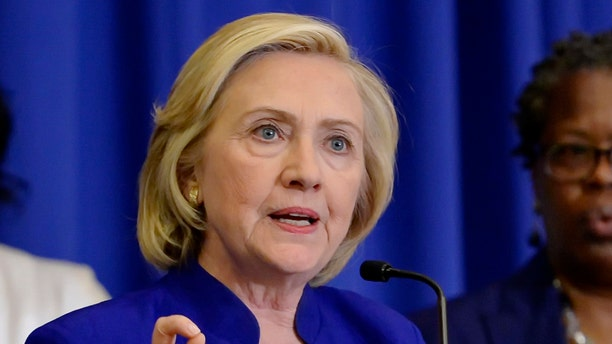 FILE - In this May 27, 2015 file photo, Democratic presidential candidate, former Secretary of State Hillary Rodham Clinton speaks in Columbia, S.C.