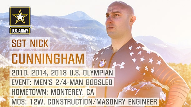 Former 2010 and 2014 Olympian Sgt. Nick Cunningham from Monterey, California also will be on the men's bobsled team.