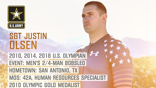 Sgt. Justin Olsen from San Antonio, Texas, will return to the U.S. bobsled team where he was a gold medalist in the 2010 Olympic games in Vancouver.