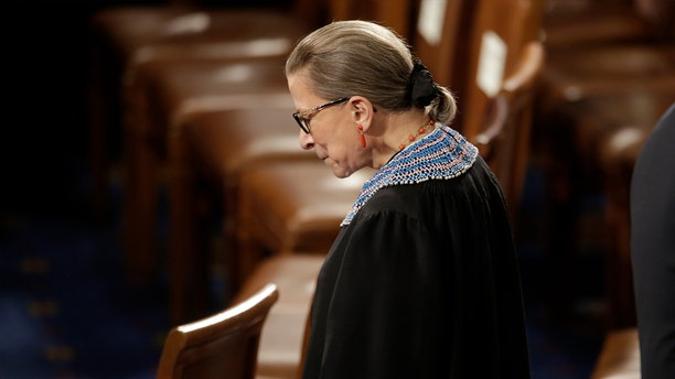 U.S. Supreme Court Associate Justice Ruth Bader Ginsburg arrives to watch U.S. President Barack Obama's State of the Union address to a joint session of the U.S. Congress on Capitol Hill in Washington, January 20, 2015.