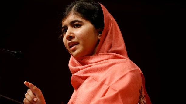 FILE - In this Friday, Sept. 27, 2013 file photo, Malala Yousafzai addresses students and faculty after receiving the 2013 Peter J. Gomes Humanitarian Award at Harvard University in Cambridge, Mass. The Pakistani girl who was shot in the head by the Taliban last October for advocating education for girls is the bookmakers' favorite to win the Nobel Peace Prize this year.  Since recovering from her injuries, she has toured the world, becoming a global celebrity. Now 16, she would be the youngest winner of any Nobel. On Thursday, Oct. 10, 2013,  she won the Sakharov Award, the European Parliament's 50,000-euro ($65,000) human rights award. (AP Photo/Jessica Rinaldi, File)