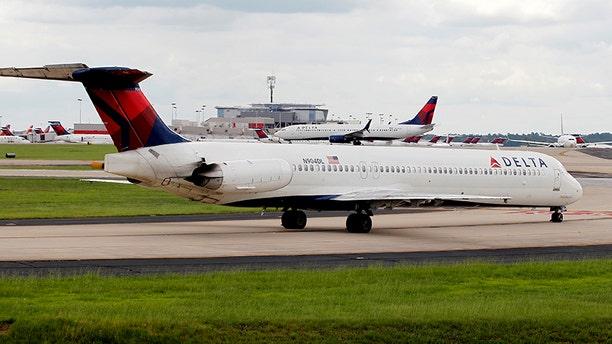 Delta aircraft at Hartsfield-Jackson International Airport in Atlanta, Ga.