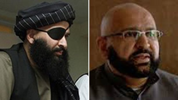 Ahmad Rateb Popal, at left during his time as a translator for the Taliban and at right, as head of the Watan Group.