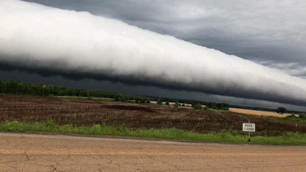 Colby Hutton, of Adamsville, Tennessee, snapped a picture of a roll cloud after a thunderstorm struck.