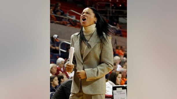 South Carolina's coach Dawn Staley reacts to a turnover during the second half of an NCAA college basketball game against Auburn, Sunday, Jan. 12, 2014, in Auburn, Ala. South Carolina defeated Auburn 72-66. (AP Photo/Butch Dill)