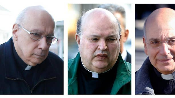 FILE--This combination of file photos from March 18, 2016 shows Giles Schinelli, left, Anthony Criscitelli, center, and Robert D'Aversa, when they were arraigned on charges of child endangerment and criminal conspiracy at a district magistrate in Hollidaysburg, Pa. The preliminary hearing is scheduled to resume Thursday April 27, 2016 for three Franciscan friars who allegedly failed to properly supervise a child predator who molested more than 100 children, mostly when working at a Catholic high school in Pennsylvania. (AP Photo/Keith Srakocic, File)