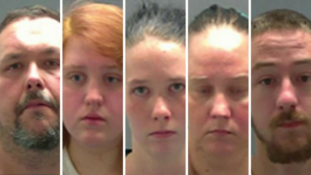 From left: Terry Knope, 45; Bridget Lambert, 21; Taylor Knope, 20; Raylaine Knope, 42; and Jody Lambert, 23, face federal charges.